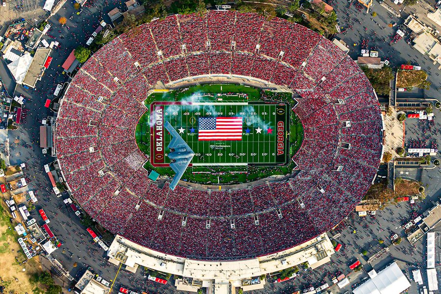 Blog Image of a Stealth Bomber B-2 Spirit Flyover at the 2018 Rose Bowl College Football Game