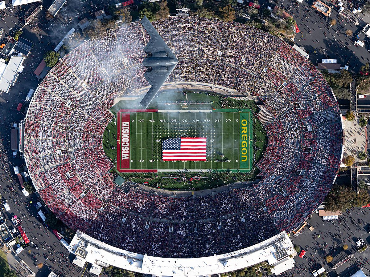 Press photo of 2020 Rose Bowl Game B-2 Stealth Bomber Flyover in Pasadena, California