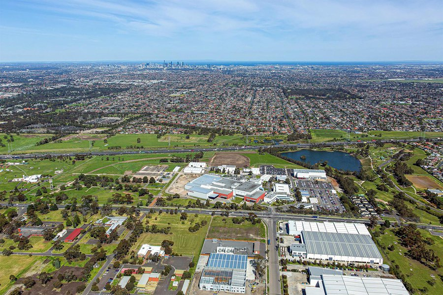 Services aerial image of an industrial property with downtown Melbourne, Australia in the background