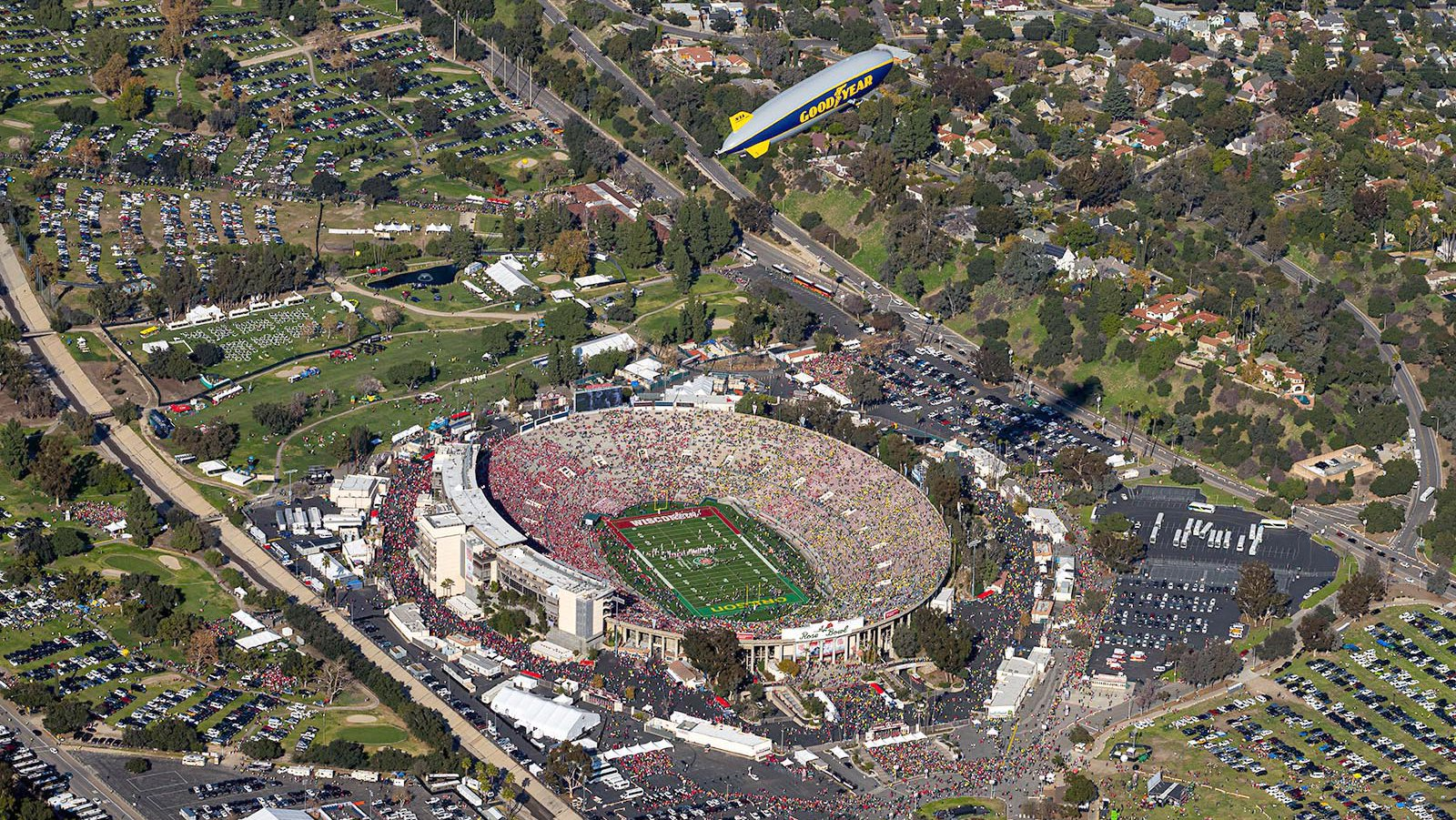 Blog image of the Goodyear Blimp Flying over the Rose Bowl Stadium on New Year's Day 2020 in Pasadena, California