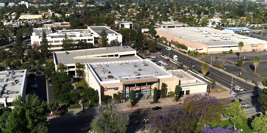 HD Aerial Drone Image of a 24 Hour Fitness Gym in West Covina, California