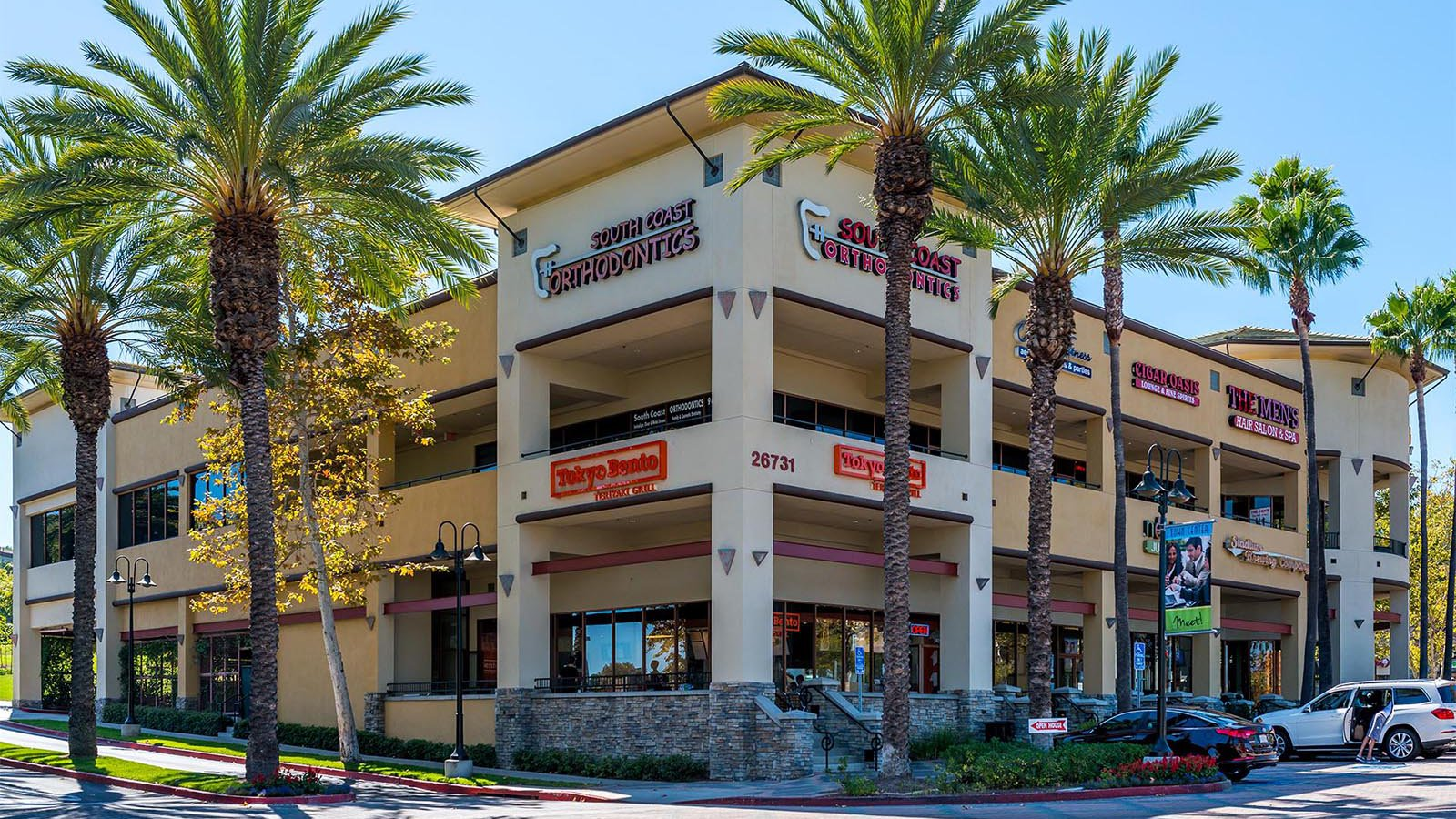 Exterior architectural photo of the Aliso Viejo Towne Center shopping center