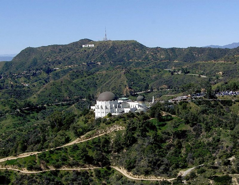 Aerial HD Video Still of Griffith Park with the Griffith Observatory and Hollywood Sign