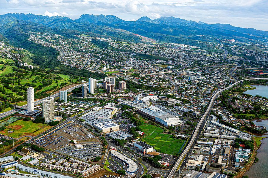 Services aerial photo of a shopping center in Honolulu, Oahu, Hawaii