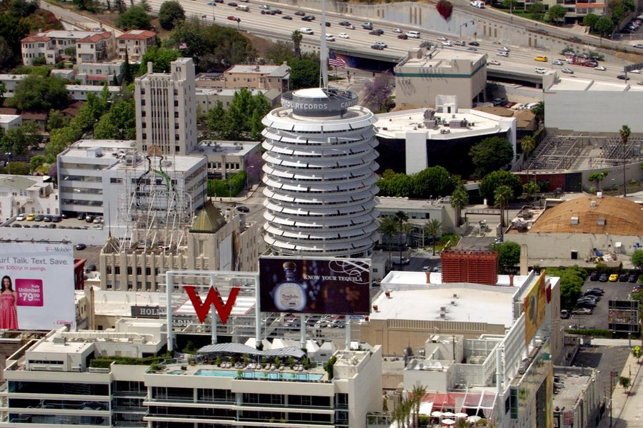 HD Aerial Video Still of the Capitol Records Building in Hollywood, California