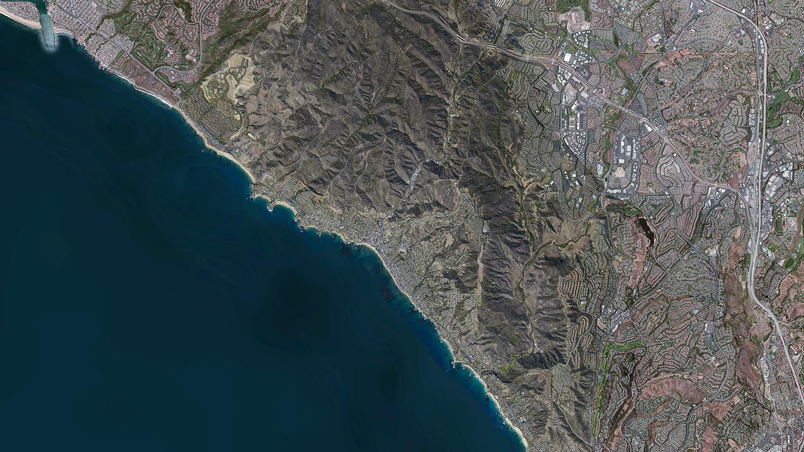 Mapping orthophoto image of the City of Laguna Beach, California overlaid on existing imagery