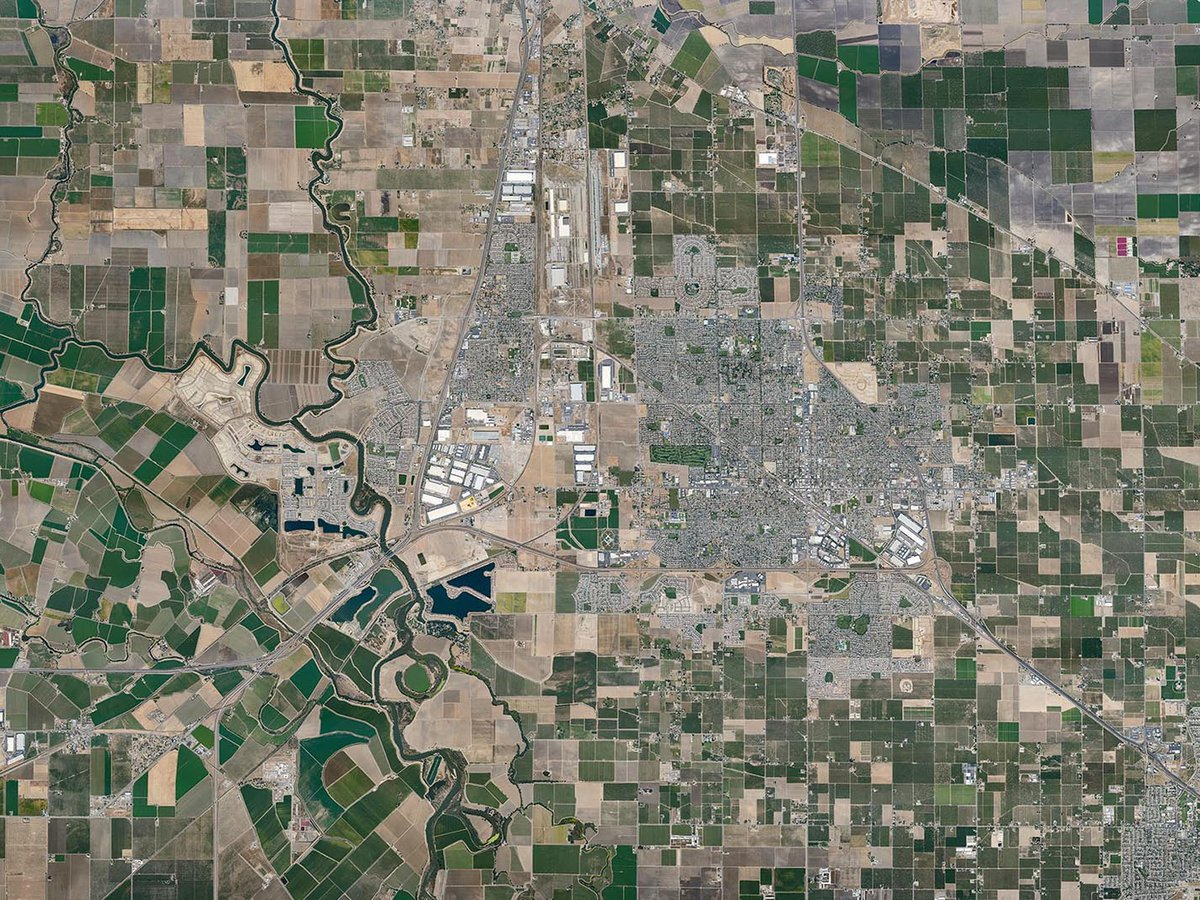Mapping overview orthophoto image of the city of Manteca and city of Lathrop in California's Central Valley
