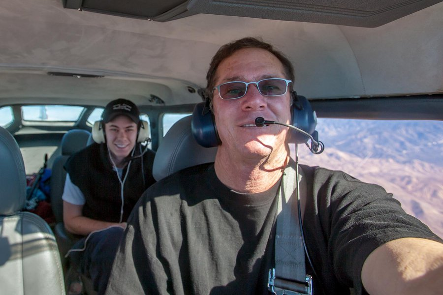 Portrait of Aerial Photographer Mark Holtzman and son Steven Holtzman Flying in their Airplane