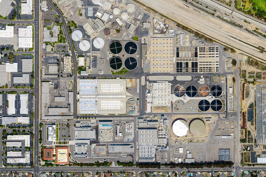 Mapping orthophoto image of a water reclamation plant in Fountain Valley, California