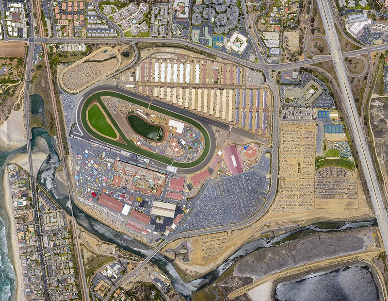 Mapping orthophoto image of the Del Mar Fairgrounds during the San Diego County Fair in Del Mar, California