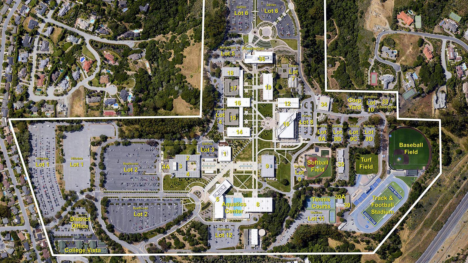 Services aerial vertical photo of the College of San Mateo, which was labeled and delivered as an aerial photo map