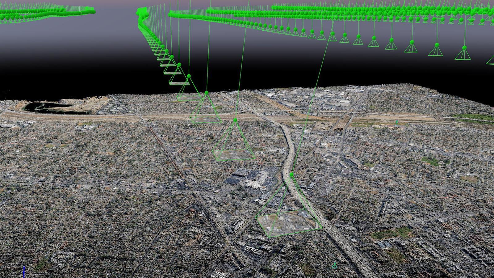 Services screen shot of an aerial mapping project's Surface-From-Motion generated 3D Point Cloud