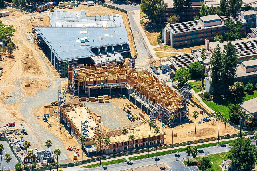 Construction photograph of student housing apartments at UC Riverside (UCR)