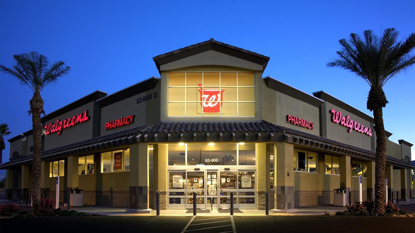 Exterior Architectural night photo of a Walgreens in Indio, California
