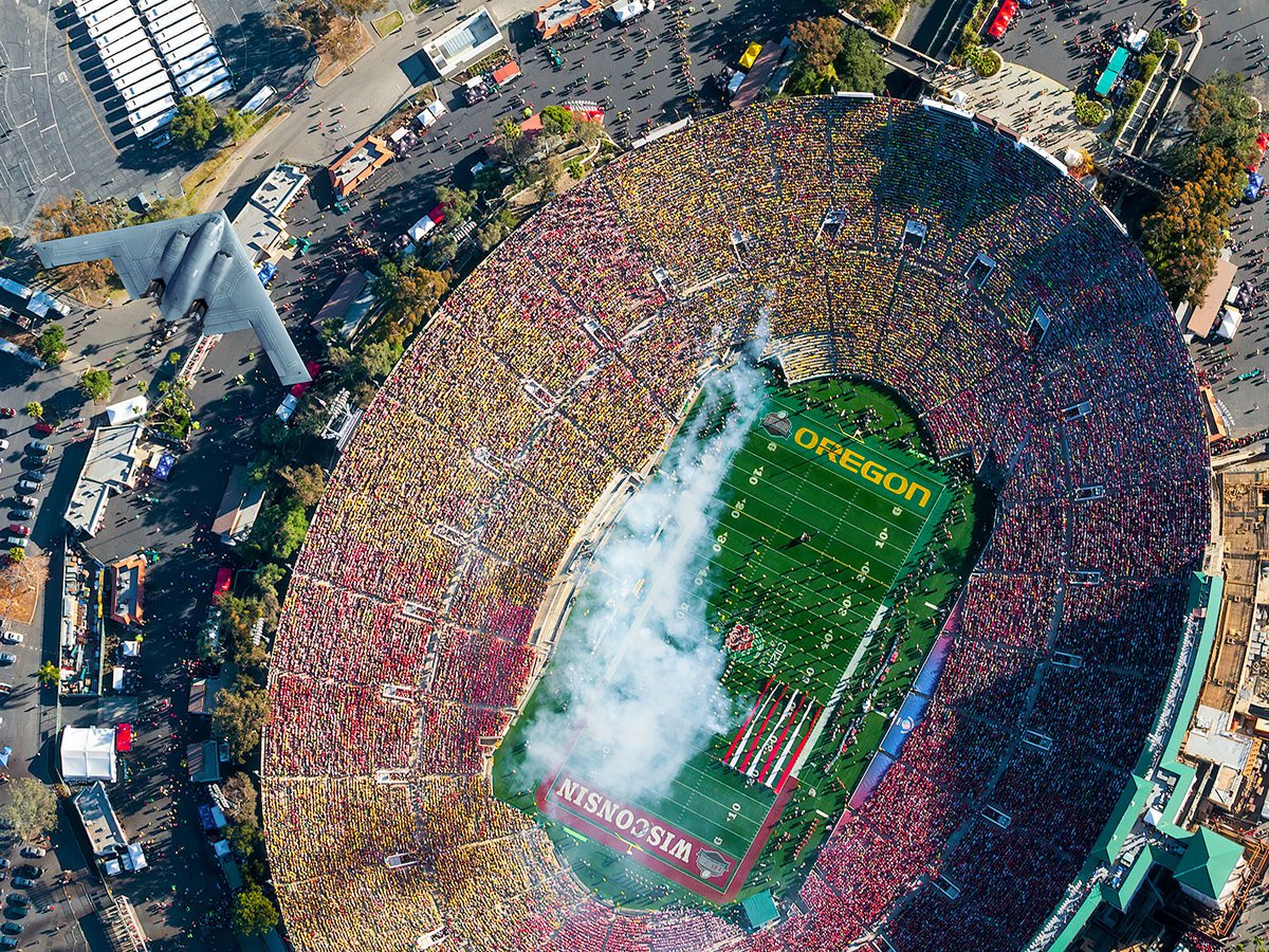 Blog image of a B-2 Stealth Bomber flying over the 98th Rose Bowl Game at the Rose Bowl Stadium in Pasadena, California on New Year's Day 2012