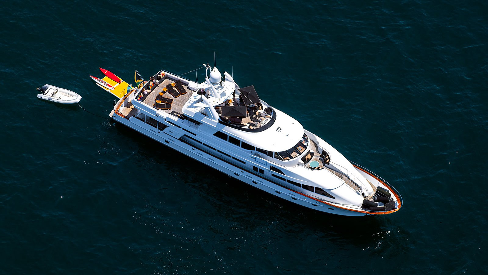 "Close-up blog photo of megayacht ""Inspired"" anchored in Emerald Bay in Laguna Beach, California"