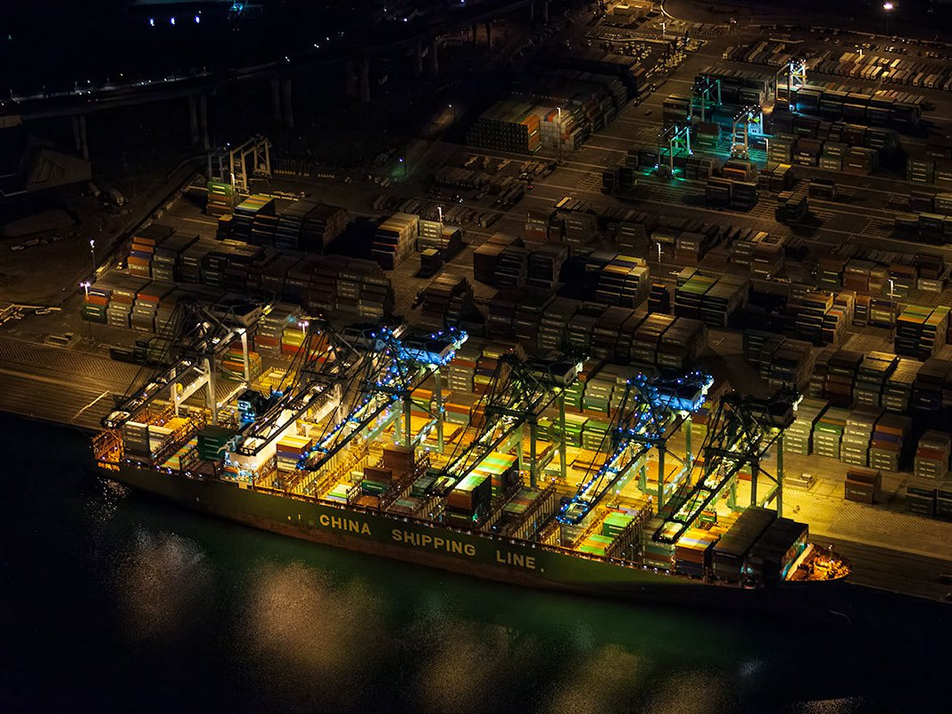 Blog image of a cargo ship at the Port of Los Angeles at night in San Pedro, California