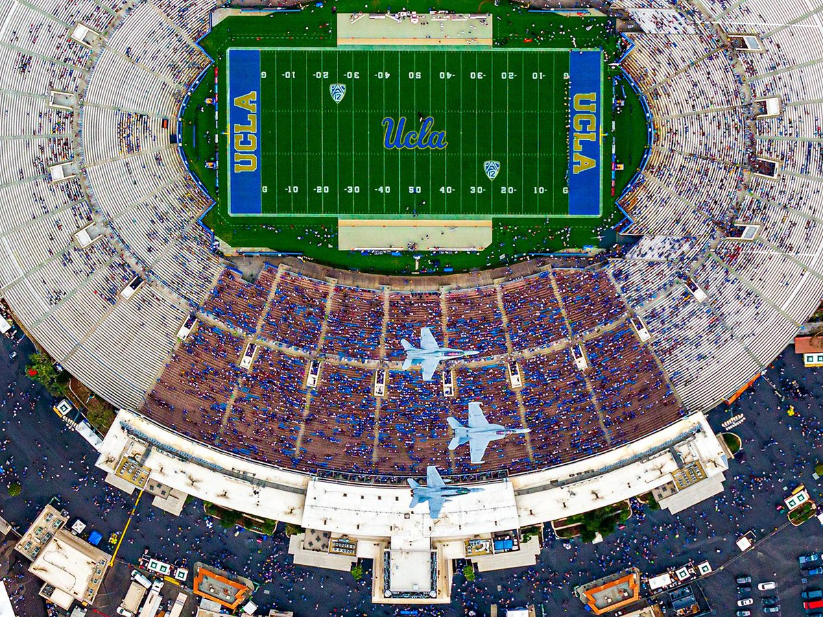 Blog image of 3 F-18s flying over the Rose Bowl Stadium at the beginning of a UCLA vs Texas A&M NCAA football game