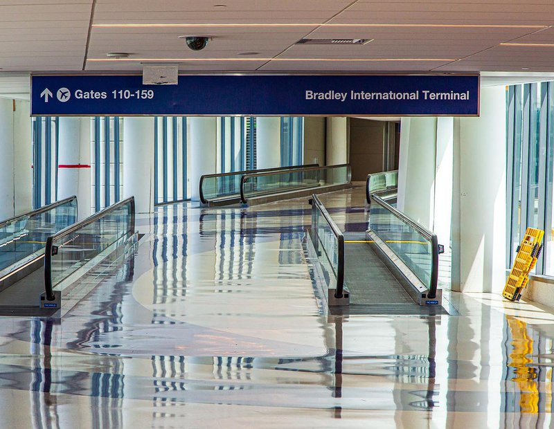 Final Interior Architectural photo showing the completion of construction at Bradley International Terminal at LAX (Los Angeles International Airport)