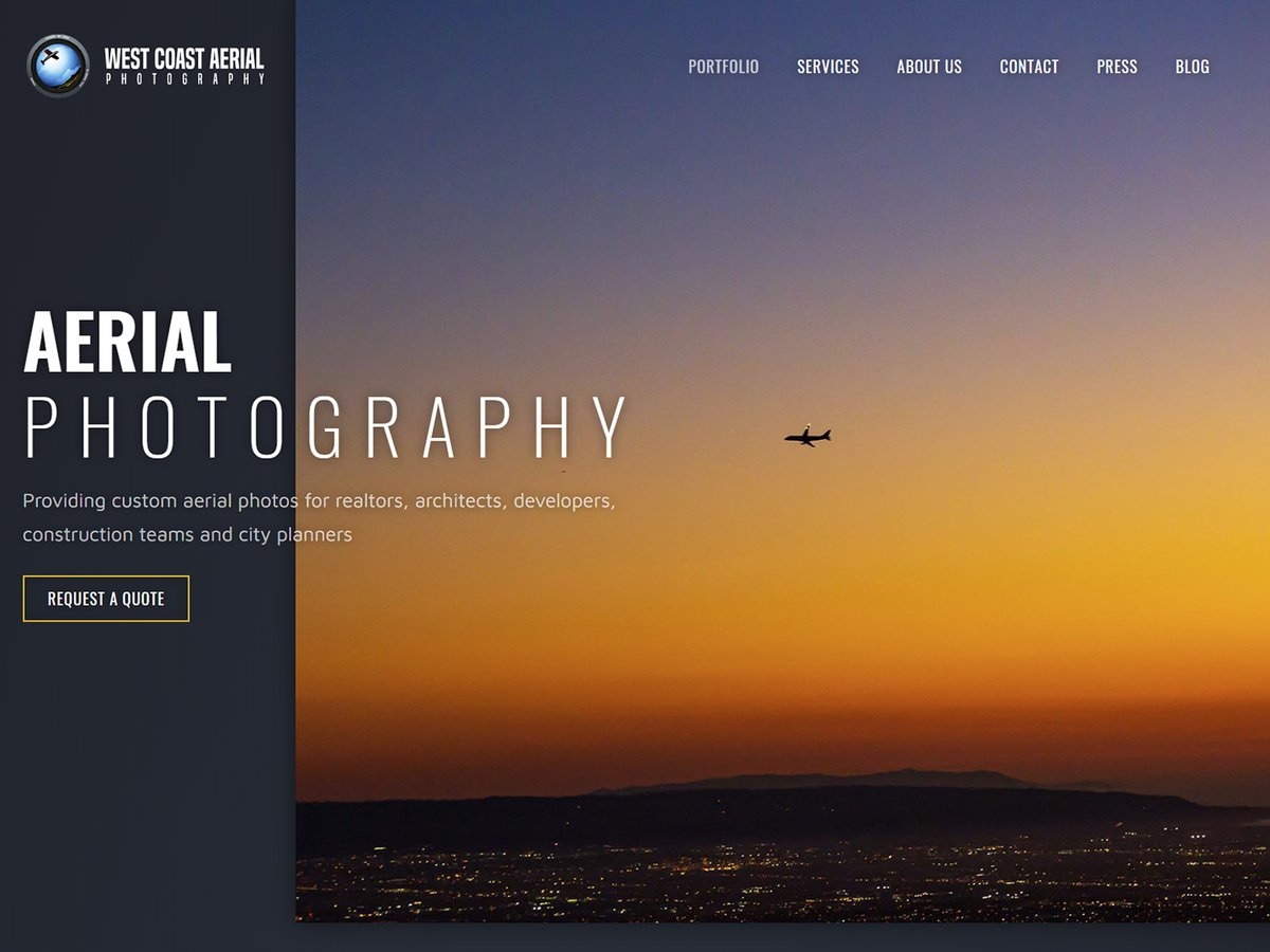 Blog image of West Coast Aerial Photography's new website